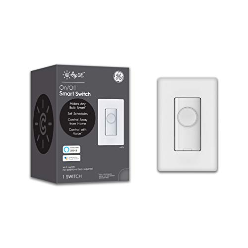 C by GE 4-Wire On/Off Button Style Smart Switch, Alexa and Google Home Compatible Without Hub, Single-Pole/3-Way Smart Switch, Bluetooth/WiFi Light Switch, White Light Switch, 1-Pack