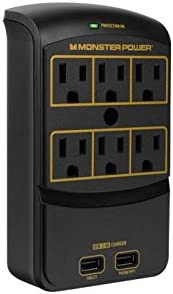 Monster Power - Gold 650 USB+, 6 AC Outlets, 2 USB 3.4AMP outlets, 1080 Joules, and FireProof MOV