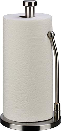 paper towel holder stainless steel - easy to tear paper towel dispenser - weighted base - adjustable spring arm to hold any type of paper towels - fits in kitchen or for bathroom paper towel holder
