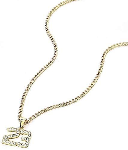 LBBYLFFF Collar Cristal Hip-Hop Baloncesto Leyenda número 23 Collar y Colgante Collar de Cadena Cubana de Oro Brillante Collar de joyería para Hombres