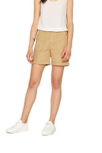 edc by ESPRIT Damen 999CC1C800 Shorts, Beige (Khaki Beige 250), W(Herstellergröße: 44)