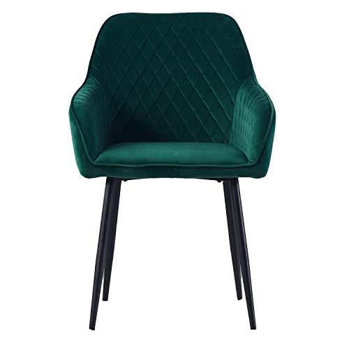 1X Schminkstuhl Wohnzimmerstuhl Esszimmerstuhl Büro Stuhl Grun aus Stoff (Samt) Farbauswahl Retro Design Armlehnstuhl Stuhl mit Rückenlehne Sessel Metallbeine Schwarz (Green, 1)