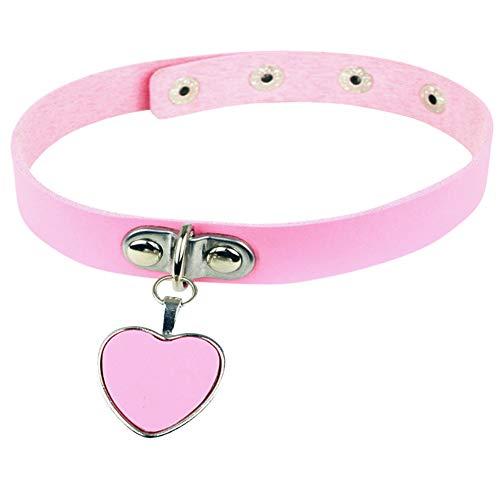 AKOAK Fashion Cool Rock Style Steampunk Punk Goth Heart-Shape Pendant Link PU Leather Collar Choker Necklace(Pink)
