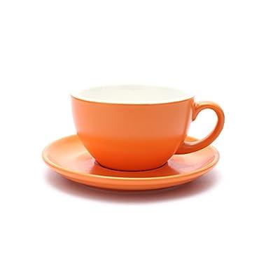 Coffeezone Americano Cup and Saucer Latte Art & Cappuccino for Barista (Matte Orange, 8.5 oz)