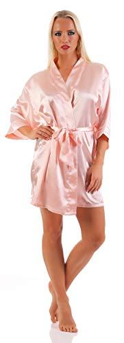 AE Damen Morgenmantel kurzer Kimono aus Satin-Optik in 23 Farben Bademantel Nachtwäsche Nachtmantel Seidenrobe Gr. S-2XL Puderrosa S