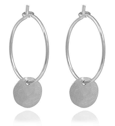 Charlotte Wooning Ohrringe Damen Silber Bubbles Hoop Small Kleine Creolen rundes gehämmertes Plättchen 925 Silber EBHSs