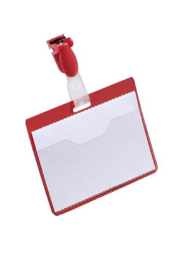Durable 810603 Namensschild (mit Clip, 60 x 90 mm, Kunststoff) Packung à 25 Stück rot