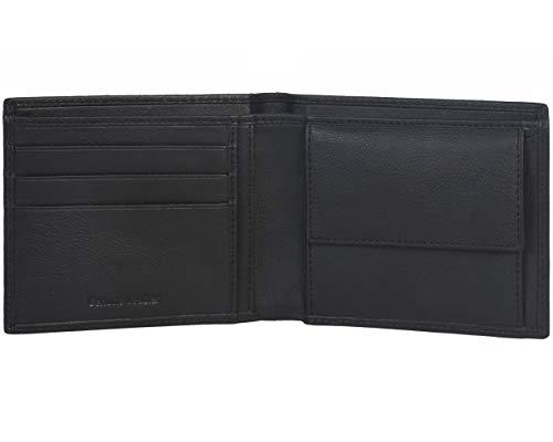 Amazon Brand -  Eono -  Cartera de Cuero para Mujer y Hombre con diseño Plano y protección contra Lectura RFID (Cuero Negro napa)