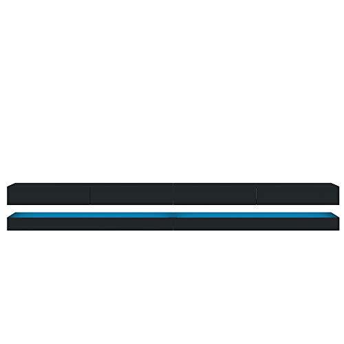 Selsey HYLIA Double - Mueble TV Colgante/LED/Mesa TV Moderna/Mueble para Salón Comedor / 2x140 cm (Negro Mate/Negro Brillante)