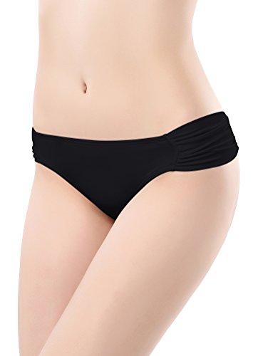 SHEKINI Damen Rüschen Bikinihose Wassersport Bikinislip Unifarben Gerafft Höschen Hipster(C-Schwarz,M)