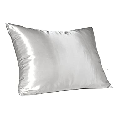 Sweet Dreams - Blissford 2-Pack Luxury Satin Pillowcase with Zipper, Standard Size, White (Silky Satin Pillow Case for Hair) By Shop Bedding