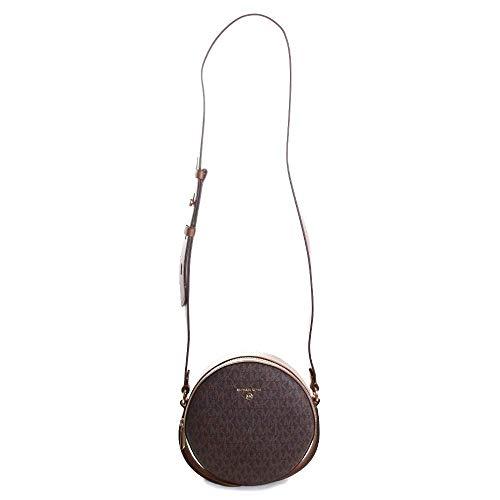 "Material: Leather/Canvas; Gold-tone hardware; 7.5""W X 7.5""H X 2""D Handle drop: 4""; Adjustable strap: 18""-20"" Exterior details: back slip pocket; Interior details: 2 back card slots, front slip pocket Lining: 100% polyester; Zip fastening Dust bag inc..."