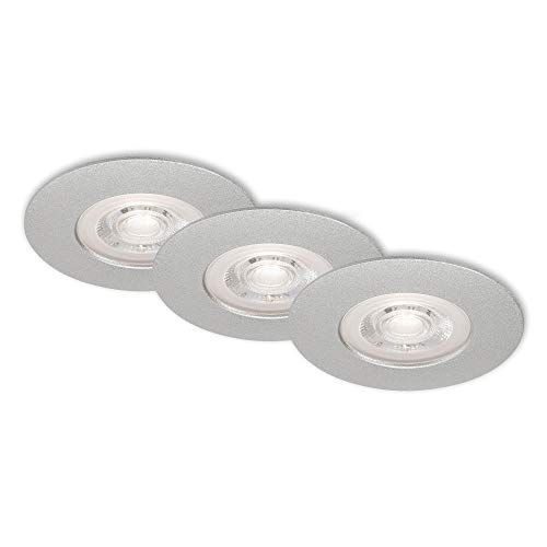 Briloner Leuchten Luci LED da Incasso, Set da 3, lampade da soffitto da 5 Watt ciascuna, 460 Lumen, 3.000 Kelvin, IP44, Bianco, 90x25mm (DxH), Effetto Cromato-Opaco
