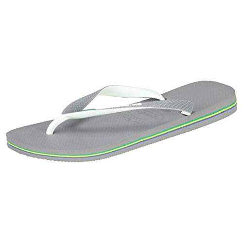 Havaianas Brasil Mix, Chanclas Unisex Adulto, Multicolor (Steel Grey/White/White), 43/44 EU
