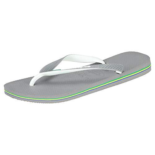 Havaianas Unisex Erwachsene Brasil Mix Zehentrenner, Mehrfarbig (Steel Grey/White/White), 45/46 EU