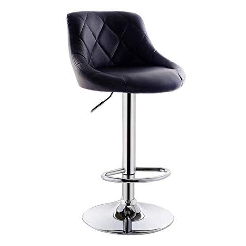 Banqueta de Bar, sillas de Cuero de la PU giratoria Gas Lift de restauración Ajustables for la Cocina del Restaurante Bar Taburetes Desayuno for Counter Cuero sintético Exterior de Acero Cromado Base
