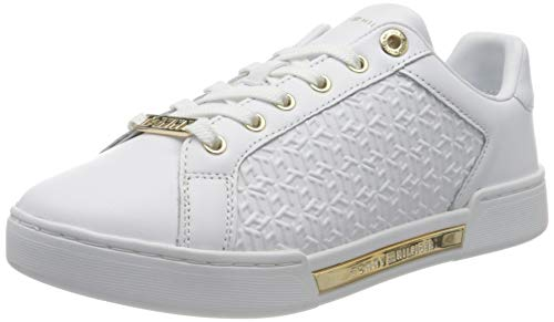 Tommy Hilfiger TH Monogram Elevated Sneaker, Elevato Donna, Bianco, 40 EU