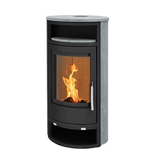 Kaminofen Dito L schwarz Speckstein mit Holzfach inkl. Abdeckplatte Heizofen Holzofen mit selbstschließender Tür Energieeffizienzklasse A 8kw