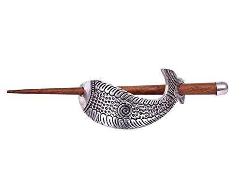 iCraftJewel Fish Hair Bun Sticks Holder Wood Updo Boho Organic Hairfork Pins Stick Barrettes Hair Accessory
