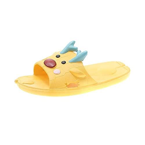 MDCGL BañO Sandalia Suave Slide Zapatillas de baño de Verano para el baño en casa para Mujer,Sandalias Unisex con Chanclas de Dibujos Animados para Interior y Exterior Amarillo EU37