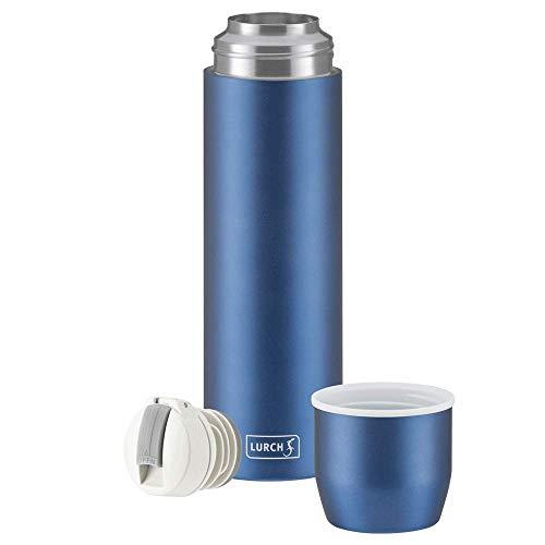 Lurch 240914 Isolierflasche / Thermoflasche für heiße und kalte Getränke aus doppelwandigem Edelstahl mit Becher 0,45l, denim blue
