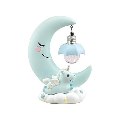 TARTIERY Luz de la noche LED Luna Unicornio Resina de dibujos animados Vivero Lámpara Dormitorio Respiración Linterna de Dibujos Animados Bebé Vivero Lámpara