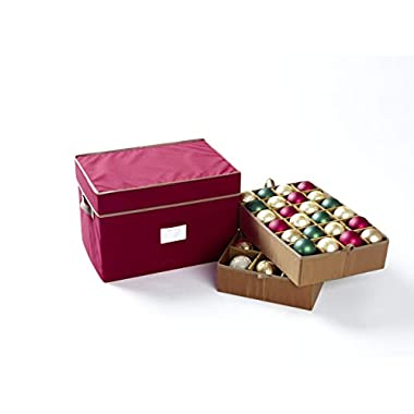 CoverMates – Holiday Adjustable Ornament Storage Box – Holds 36 to 72 Ornaments – 3 Year Warranty- Red