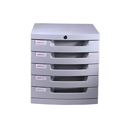 LHQ-HQ Plastische, kosmetische Schublade, Schreibtisch Speichereinheit Organizer abschließbare Schublade Sorter A4 Box for Büro (5-Schichten Größe: 12in * 15.2in * 12.6in) Zeitungsständer