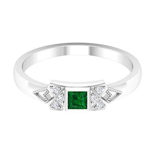 Rosec Jewels 14 quilates oro blanco round-brilliant-shape princess-shape H-I Green Diamond Esmeralda creada en laboratorio.