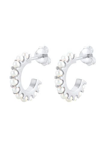 Elli Pendientes Mujer Criollas Elegante con Cristales en Plata Esterlina 925