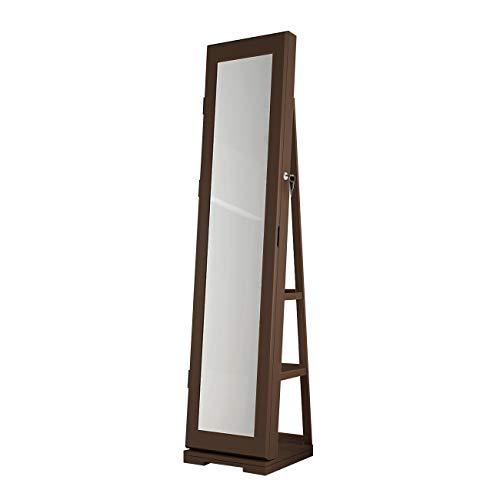 soges Schmuckschrank Spiegelschrank Stehender 360° Drehbarer Spiegel mit größen Speicherskapazität,Rückseite mit Ablagen,XXL Höhe,160 * 38 * 38CM,Dunkelbraun