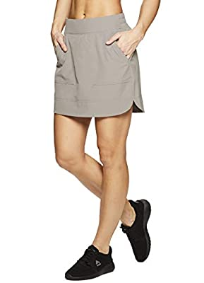 RBX Active Women's Fashion Stretch Woven Flat Front Golf/Tennis Athletic Skort with Attached Bike Shorts and Pockets New Spring Taupe XL