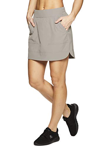RBX Active Women's Fashion Stretch Woven Flat Front Golf/Tennis Athletic Skort with Attached Bike Shorts and Pockets New Spring Taupe L