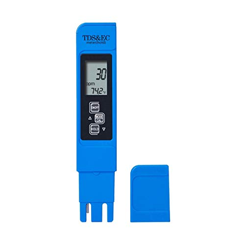 TDS Meter 3-in-1 TDS EC & Temperature Test Pen | Ultrahigh Accuracy & Easy to Use Water Purity Tester (Blue) | Ideal Water Test Meter for Drinking Water, Aquariums, Swimming Pool & More