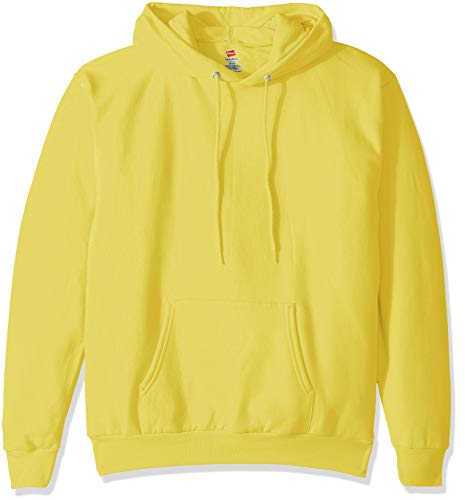 Hanes Men's Pullover EcoSmart Fleece Hooded Sweatshirt, yellow, Large