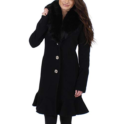 Ivanka Trump Womens Flutter Shawl Collar Midi Coat Black 2