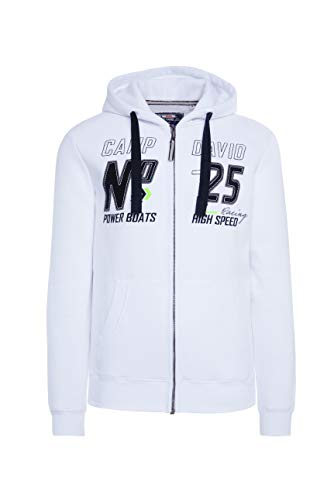 Camp David Herren Hoodie Jacket mit Label-Applikationen, Opticwhite, L
