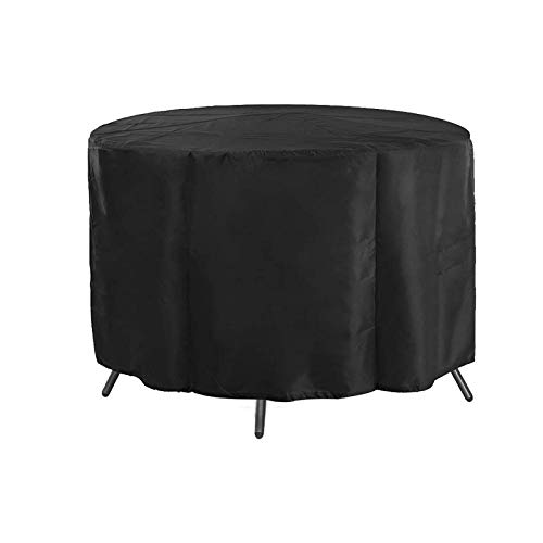 Fundas para Muebles De Jardín, Impermeables, Fundas Redondas para Mesa Y Sillas De Patio, Fundas para Muebles De Patio Al Aire Libre, Color Negro, Tela Oxford Resistente 420D, para Todos Los Climas
