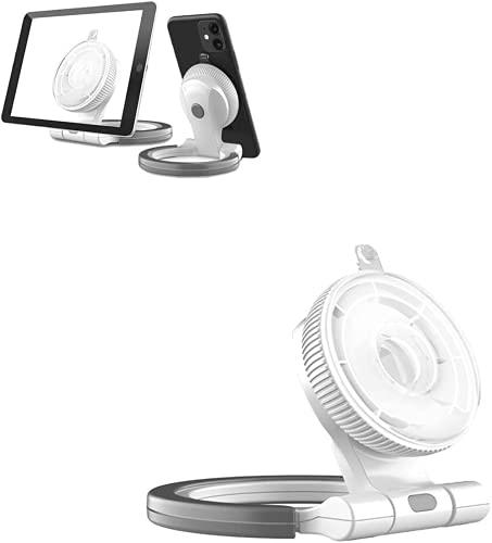 Soporte Para Tableta Y Soporte Para Teléfono Móvil, Soporte Para Anillo De Tableta De Nano Adsorción, Soporte De Montaje En Pared Para Cocina Soporte Para Teléfono Móvil Con Rotación (White)