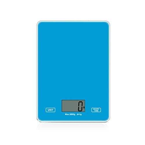 Twee keukenweegschalen met een capaciteit van 5 kg, digitaal display, het toevoegen en wegen van tarragewichten, meting voor bakken, frankeerweegschaal voor brieven,Blue