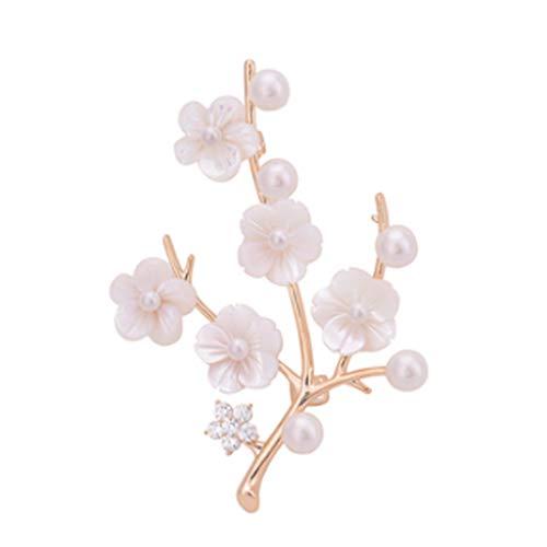 JJZXT Pearl Fan Spilla Signore Spilla Ciondolo a Doppio Uso di Stile Etnico High-End Coat Gioielli Pin Classica