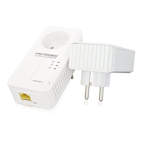 Metronic 495421 - Adaptadores PLC con enchufe extra, blanco
