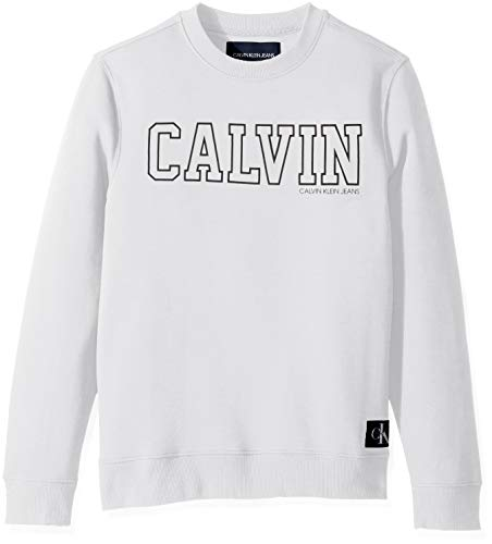 Calvin Klein Jeans Men's Crew Neck Sweatshirt with Tonal Rib Tipping, Brilliant White, Large