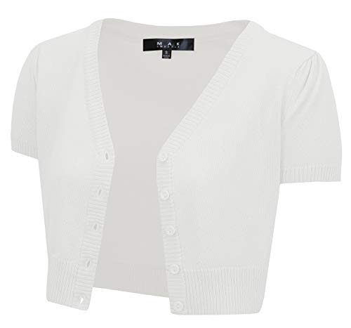 YEMAK Women's Cropped Bolero Short Sleeve Button Down Cardigan Sweater HB2137-WHT-L White