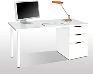 Habitdesign 004604BO - Mesa ordenador reversible, Blanco Brillo, 138 x 74 x 60 cm de fondo