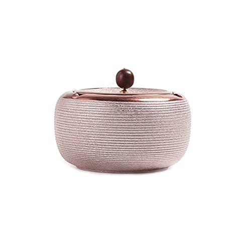 DIWA Cenicero sin Humo con Tapa, cenicero de cerámica Redondo, Sellado Fuerte, para Escritorio/decoración/Regalo, 5 Estilos (Color : Red Wine)