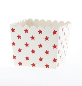 6 Schicke Weiße Snack-Schachteln mit Roten Sternchen