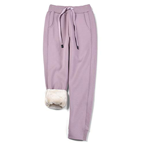 utcoco Women's Athletic Fit Thicked Fuzzy Sherpa Lined Warm Drawstring Tapered Jogger Sweatpant (L, Purple)