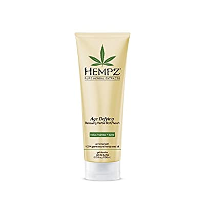 Hempz Age Defying Renewing Herbal Body Wash, 8.5 oz., with Shea Butter, Ginseng - Anti-Aging, Fragranced Shower Gel with Pure Hemp Seed Oil, Algae for Sensitive Skin - Premium Personal Care Products