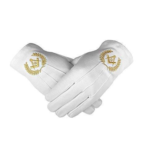 Emblème Maçonnique Blanc 100% Cotton Gants Place Compas & G BT048 - Or, Large